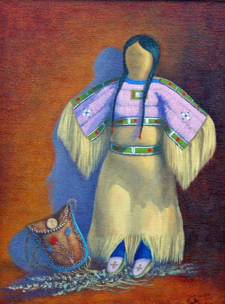 Tom Lucas Blackfoot Doll Oil 12 x 9